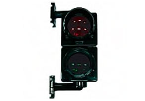 Traffic light unit for wall or post mounting. Red/Green