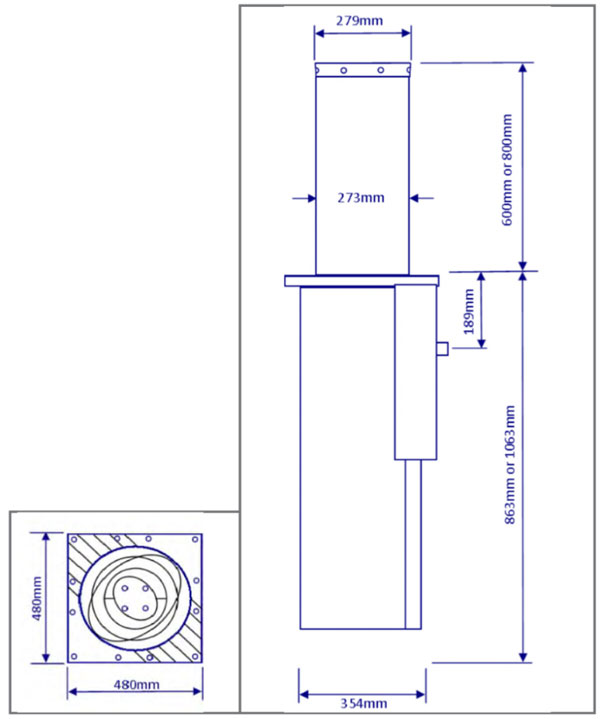 Overall dimensions of AMP3000 Bollard
