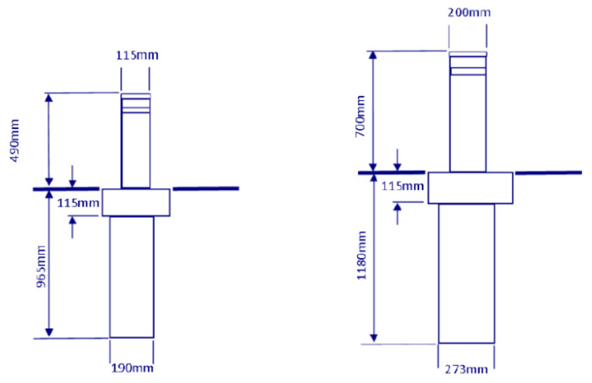 Overall Dimensions of the 115mm and 200mm dimeter bollards