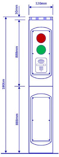Totem Control Pillar Dimensions